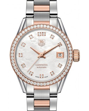 Tag Heuer Carrera Stainless Steel/Rose Gold White MOP Diamond Dial & Stainless Steel Bracelet  WAR2453.BD0777 - BRAND NEW