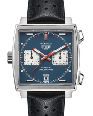 Tag Heuer Monaco Stainless Steel Blue Index Dial & Leather Strap  CAW211P.FC6356 - BRAND NEW