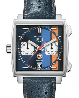 Tag Heuer Monaco Stainless Steel Blue Index Dial & Leather Strap  CAW211R.FC6401 - BRAND NEW