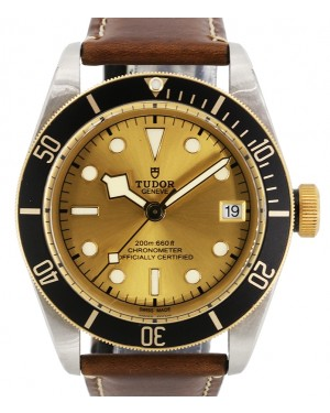Tudor Heritage Black Bay Champagne Dial Black Bezel Two-Tone Yellow Gold & Stainless Steel Leather Strap 41mm 79733N - PRE-OWNED