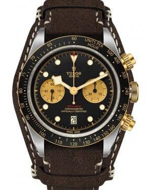 Tudor Black Bay Chrono S&G Stainless Steel 41mm Black Dial Leather Strap 79363N-0002 - Brand New