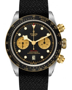 Tudor Black Bay Chronograph Black Dial & Bezel Two-Tone Yellow Gold & Stainless Steel Leather Strap 41mm 79363 - BRAND NEW