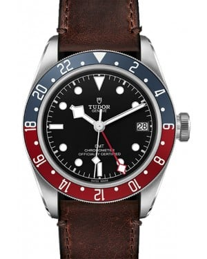 "Tudor Black Bay GMT Black Dial Red/Blue ""Pepsi"" Bezel Stainless Steel ""Terra di Siena"" Brown Leather Strap 41mm 79830RB - BRAND NEW"