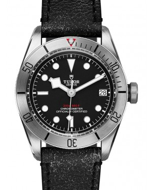 Tudor Heritage Black Bay Black Dial & Stainless Steel Bezel Leather Bracelet 41mm 79730 - PRE-OWNED