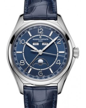 Vacheron Constantin Fiftysix Complete Calendar Stainless Steel Blue Arabic Dial & Leather Strap 4000E/000A-B548 - BRAND NEW