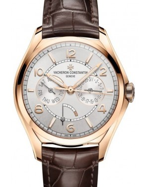 Vacheron Constantin Fiftysix Day-Date Rose Gold Silver Arabic Dial & Leather Strap 4400E/000R-B436 - BRAND NEW