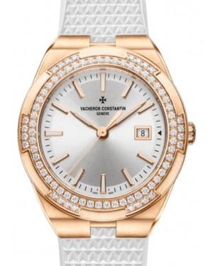 Vacheron Constantin Overseas Quartz Pink Gold 33mm Silver Dial Diamond Bezel & Interchangeable Rubber & Leather Straps 1205V/000R-B592 - BRAND NEW
