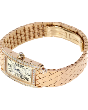 CARTIER WB710008 TANK AMERICAINE 18K PINK GOLD, DIAMONDS BRAND NEW