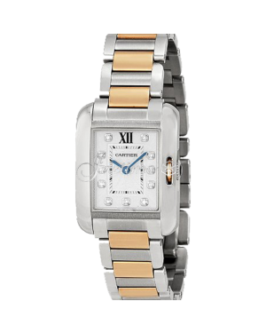 CARTIER WT100024 TANK ANGLAISE PINK GOLD STEEL, DIAMONDS BRAND NEW