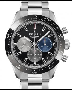 Zenith Chronomaster Sport El Primero Stainless Steel Black Index Dial Ceramic Bezel & Stainless Steel Bracelet 03.3100.3600/21.M3100 - BRAND NEW