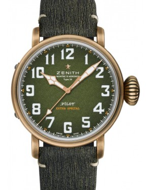 Zenith Pilot Type 20 Adventure Bronze Green Arabic Dial & Leather Strap 229.2430.679/63.I001 - BRAND NEW