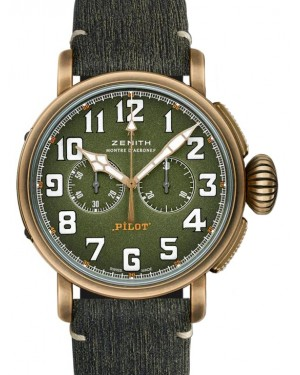 Zenith Pilot Type 20 Chronograph Adventure Bronze Green Arabic Dial & Leather Strap 29.2430.4069/63.I001 - BRAND NEW
