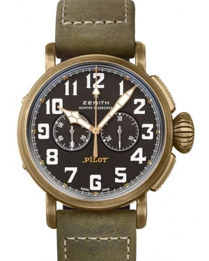 Zenith Pilot Type 20 Chronograph Extra Special Bronze Black Arabic Dial & Leather Strap 29.2430.4069/21.C800 - BRAND NEW