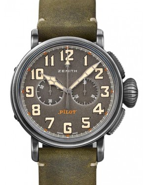 Zenith Pilot Type 20 Chronograph Ton-Up Stainless Steel Grey Arabic Dial & Leather Strap 11.2430.4069/21.C773 - BRAND NEW