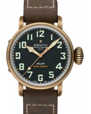 Zenith Pilot Type 20 Extra Special Bronze Black Arabic Dial & Leather Strap 29.2430.679/21.C753 - BRAND NEW