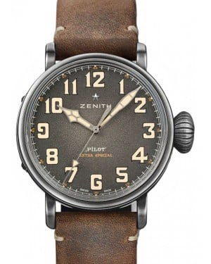 Zenith Pilot Type 20 Ton-Up Stainless Steel Grey Arabic Dial & Leather Strap 11.2430.679/21.C801 - BRAND NEW