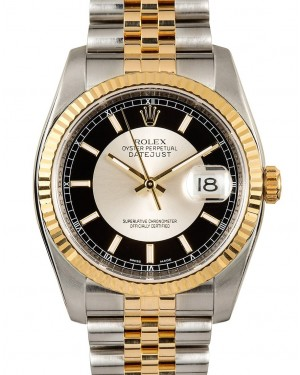 "Rolex Datejust 36 Yellow Gold & Steel Black and Silver Index ""Tuxedo"" Fluted Bezel Jubilee Bracelet 116233- BRAND NEW"