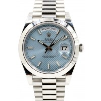 Rolex Day-Date 40 President 228206 Men's 40mm Platinum Ice Blue Index BOX PAPERS
