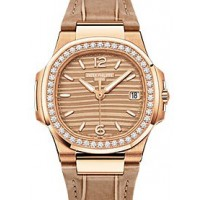 Patek Philippe 7010R-012 Nautilus Ladies 32mm Champagne Arabic Index Diamond Bezel Rose Gold Brown Leather Quartz BRAND NEW 2016