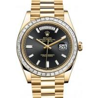 Rolex Day-Date 40 228398 228398TBR-0001 Black Baguette Diamond Bezel Yellow Gold President BRAND NEW 2016