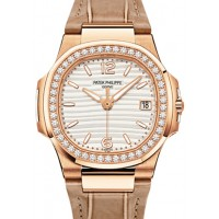 Patek Philippe 7010R-011 Nautilus Ladies 32mm Silver Arabic Index Diamond Bezel Rose Gold Brown Leather Quartz BRAND NEW 2016