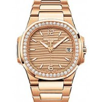 Patek Philippe 7010/1R-012 Nautilus Ladies 32mm Champagne Arabic Index Diamond Bezel Rose Gold Quartz BRAND NEW 2016