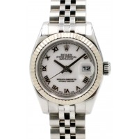 Rolex Datejust 179174 Ladies 26mm Small White Roman Stainless Steel Jubilee White Gold Fluted