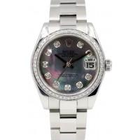 Rolex Datejust 178240 Ladies Midsize 31mm Diamond Dark Mother of Pearl Oyster MOP