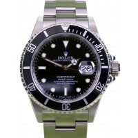 Rolex Submariner 16610 Black 40mm Stainless Steel Inscribed Rehaut BOX/PAPERS