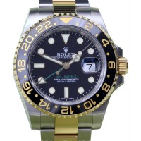 Rolex GMT-Master II 116713 Men's 40mm Ceramic Black Index 18k Yellow Gold Stainless Steel BOX/PAPERS