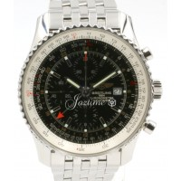Breitling Navitimer World GMT A24322 Men's 46mm Black Chronograph Stainless Steel BOX PAPERS