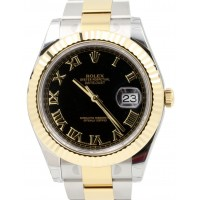 Rolex Datejust II 116333 Black Roman Fluted Yellow Gold Stainless Steel Oyster Date BRAND NEW 2016