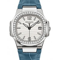 Patek Philippe 7010G-011 Nautilus Ladies 32mm Silver Arabic Index Diamond Bezel White Gold Blue Leather Quartz BRAND NEW 2016