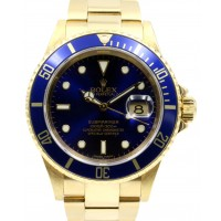 Rolex Submariner 16618 Men's Blue Solid Yellow Gold 40mm Diver Oyster Date