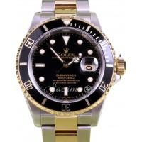 Rolex Submariner 16613 Black 40mm 18k Yellow Gold No Holes Gold Thru BOX PAPERS
