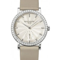 Patek Philippe 7120G-001 Calatrava Ladies 31mm Cream Guillouche Diamond Bezel White Gold Leather Manual BRAND NEW 2016