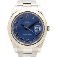 Rolex Datejust II 116334 BLURFO Blue Roman White Gold Stainless Steel Oyster Men's 41mm BOX/PAPERS