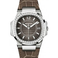 Patek Philippe 7010G-012 Nautilus Ladies 32mm Slate Arabic Index Diamond Bezel White Gold Brown Leather Quartz BRAND NEW 2016