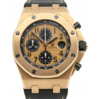 Audemars Piguet 26470OR.OO.A002CR.01 Royal Oak Offshore Chronograph 42mm Champagne Arabic Rose Gold Leather BOX/PAPERS
