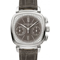 Patek Philippe 7071G-010 Complications Ladies Chronograph 35 × 39mm Grey Opaline Roman White Gold Diamond Set Leather Manual BRAND NEW 2016