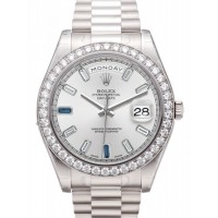 Rolex Day Date II President 218349 41mm 18k White Gold Silver Diamond Sapphire Baguette BRAND NEW