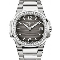 Patek Philippe 7010/1G-012 Nautilus Ladies 32mm Slate Arabic Index Diamond Bezel White Gold Quartz BRAND NEW 2016