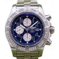 Breitling Super Avenger A13370 Men's 48mm Custom Diamond Bezel Blue Arabic Stainless Steel Chronograph