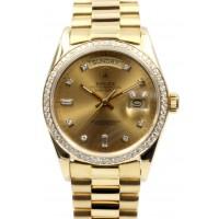 Rolex Day-Date President 18038 Champagne Diamond Custom Bezel 36mm 18k Yellow Gold