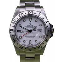Rolex Explorer II 16570 GMT White Index Men's 40mm Stainless Steel Oyster BOX/PAPERS