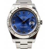 Rolex Datejust II 116334 Blue Roman Stainless Steel White Gold Fluted Oyster 41