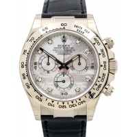Rolex Cosmograph Daytona 116519 116519-MOPDBLK White Mother Of Pearl Diamond Black Leather BRAND NEW 2016